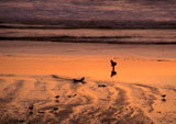 Child on Oregon beach at sunset